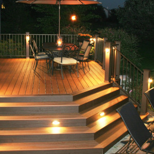 Beautiful lighted deck.