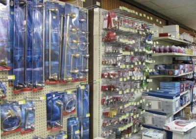 Display of bath hardware at Home Lumber, Meade, Kansas.