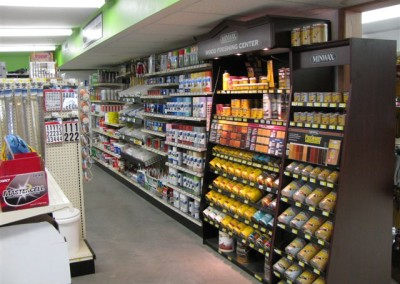 Paint and stain assortment at Home Lumber, Greensburg, Kansas.