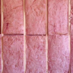 Figerglass insulation in a wall.